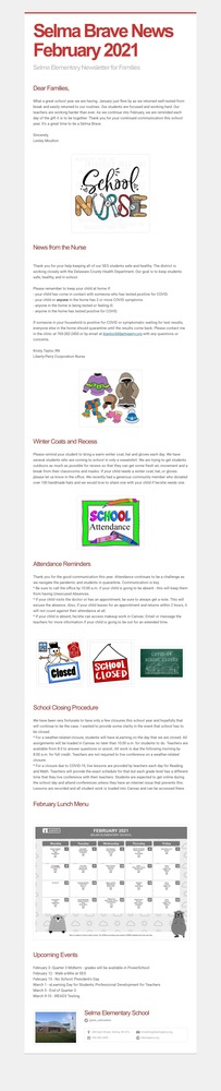 February 2021 SES Newsletter for Families