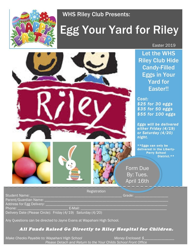 Riley Club Fundraiser - Egg Your Yard for Easter!
