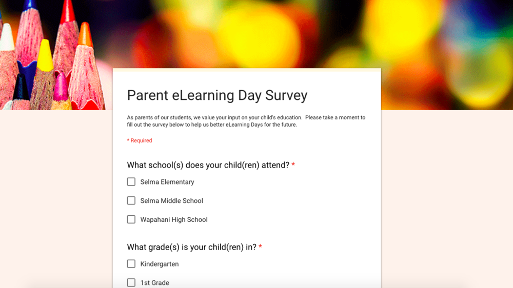 Parent eLearning Day Survey
