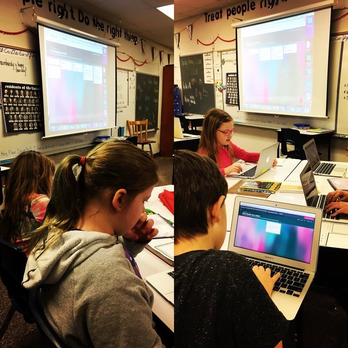 3rd graders rocking on Padlet